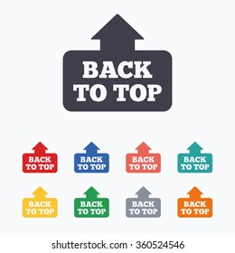 Back to top arrow sign icon. Scroll up page symbol. Colored flat icons on white background.