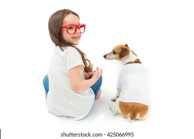 Back Turned Girl and dog sitting down. Team family look t-shirts. Template for place your print on clothes. White background