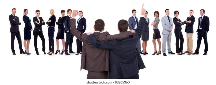 Back of two men leading a winning business team over white