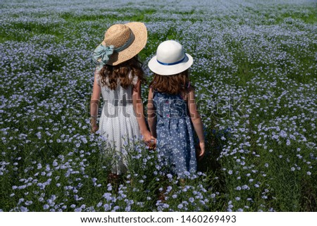 The back of two young girls in hats in a flax field on a Saskatchewan farm