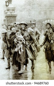 """Back at Victoria for his first furlough - illustration from """"Great War"""" magazine, vol. 156, UK, circa 1917"""