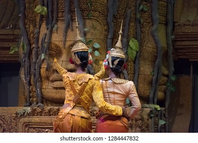 Back view of actor showing Khon dancing performance in Siem Reap, Cambodia. The UNESCO announced Khon, the Thai masked dance drama, and Lkhon Khol of Cambodia are intangible cultural heritage.