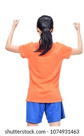 Back view of asian footballer woman with excited expression isolated over white background