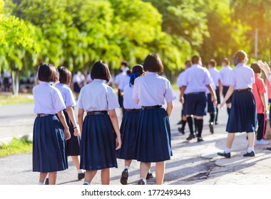The back view of Asian high school students in white uniform are walking towards preparing to respect the national flag in the morning amidst the beautiful nature surrounding the school.