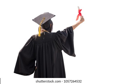Back view of Asian woman with graduation cap and gown holding diploma isolated on white background, Successful concept