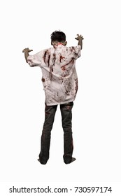 Back view of asian zombie man with blood in his clothes posing isolated over white background