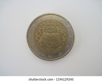 Back view of Austrian two euro coin. Austria 2 Euro coin - 50 years of the Rome treaty of 2007. Great for numismatic collection.