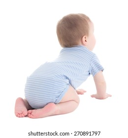 back view of baby boy toddler isolated on white background