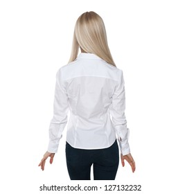 back view of beautiful blonde business woman.Young girl in black skirt and white blouse.  Isolated over white background.
