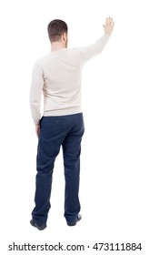 Back view of beautiful business man welcomes.  Young businessman in suit. Rear view  people collection.  backside view of person.  Isolated over white background. The bearded man in a white warm