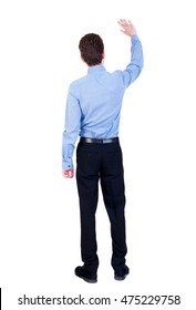 Back view of beautiful business man welcomes. Businessman in blue shirt, waving.