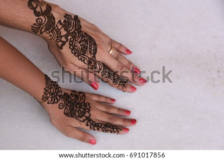 Back View Beautiful Henna Arabic Design Stock Photo Edit Now