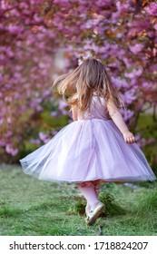 Vue de dessous de belle petite fille dans le jardin fleuri (fleurs de cerisiers). la fille est de retour. heure de printemps