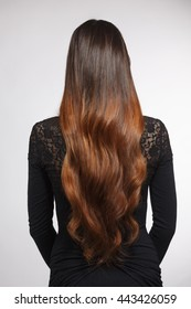Back view of beautiful woman demonstrating her gorgeous brown hair. Pretty lady with modern hairstyle in studio.