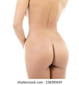 Back view of beautiful young woman with perfect body, isolated on white background