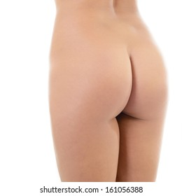 Back view of beautiful young woman with perfect body. Female buttocks isolated on white background