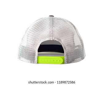 Back view of black snapback cap or trucker hat with mesh isolated on white background