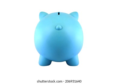 Back view blue piggy bank isolated on white background.
