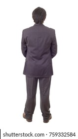 Back view of a business man full length, isolated