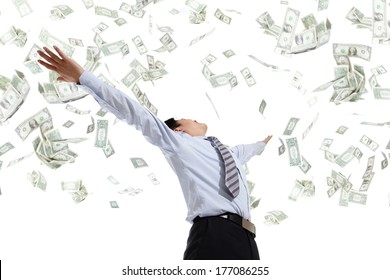 back view of business man hug money isolated on white background, concept for success business, asian model