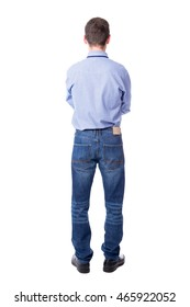 back view of business man isolated on white background