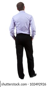 back view of Business man  looks on wall.  Young guy in shirt watching.  Rear view people collection.  backside view of person.  Isolated over white background.