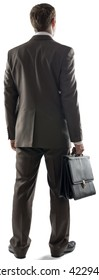 Back view of business man standing and holding briefcase isolated on white background