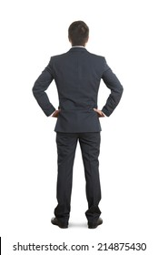 back view of businessman in formal wear over white background