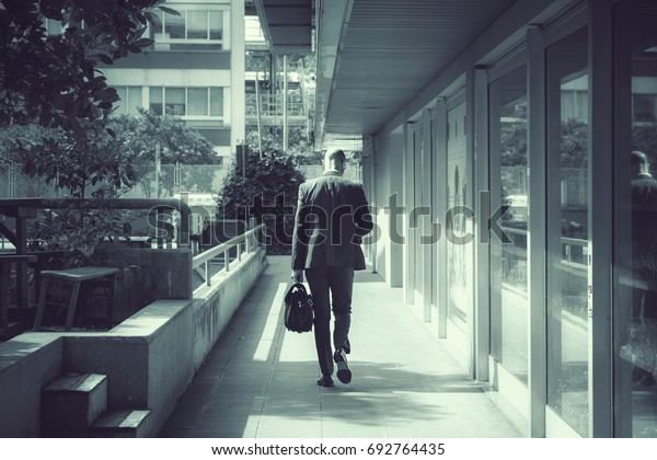 back view of businessman on the road, cold tone image of walking man with bag