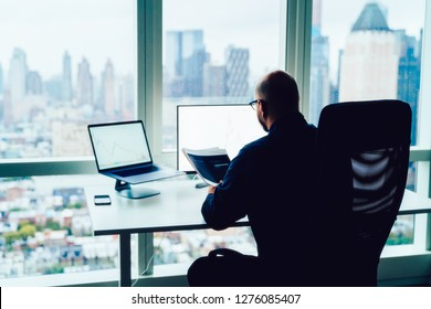 Back view of businessman sitting at skyscrapers view office interior desktop front computers with financial graphs and infographics statistics. Analysis of market and investment in block chain crypto