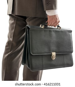 Back view of businessman with suitcase in hand, closeup