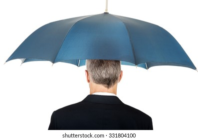 Back view businessman with umbrella.