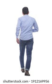 back view. casual young man confidently striding away.