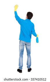 Back view of a cleaner man in gloves with sponge and detergent. girl  watching. Rear view people collection.  backside view of person.  Isolated over white background. Man cleaner washes a wall