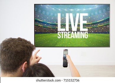 back view couple watching live streaming on television at home.