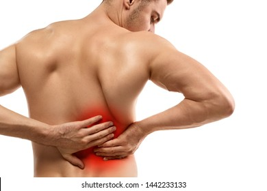 Back view of crop muscular guy massaging highlighted area on lower back while suffering from kidney pain against white background