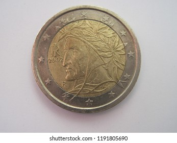 Back view of euro coin with Caesar. Italian coin with antique symbol of Italy. Great for numismatic collection.