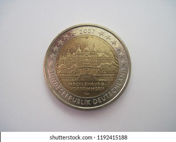 Back view of euro coin. German coin of 2 euros - Mecklenburg - West Pomerania - Schwerin Castle. Great for numismatic collection.