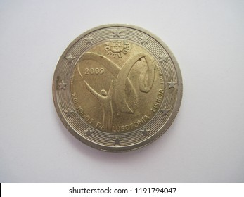 Back view of euro coin. Portugal coin with symbol of Lusofonia Games of 2009 in Lisbon. Great for numismatic collection.