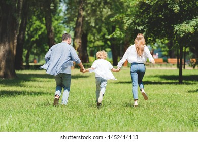 back view of family holding hands and running in park during daytime