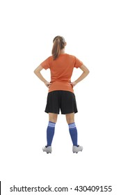 Back view female soccer player isolated over white background