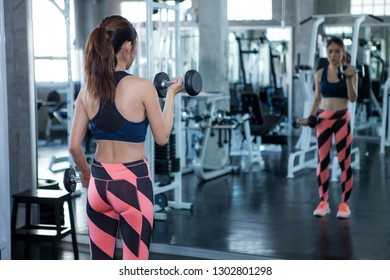 back view of  fitness woman working out with dumbbells .sport girl exercises weight lifting in gym looking at mirror