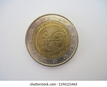 Back view of French two euro coin. France 2 euro –  10th Anniversary of the European Monetary Union. Great for numismatic collection.