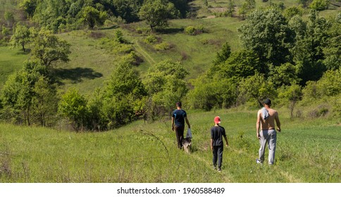 Back view of friends with dog walking on the green hill on a sunny summer day. Country road landscape with people in walk. Vatra Dornei, Maramures, Romania, May 23, 2020
