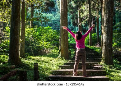 Back view of girl with open hands in forest trail