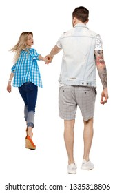 Back view of going couple. walking friendly girl and guy holding hands. Rear view people collection. backside view of person. Isolated over white. The girl pulls her boyfriend's arm forward.