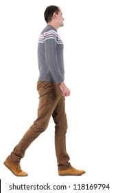 Back view of going  handsome man in sweater.  walking young guy in jeans and  jacket. Rear view people collection.  backside view of person.  Isolated over white background.