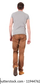 Back view of going  handsome man in jeans and shirt.  walking young guy in jeans and  jacket. Rear view people collection.  backside view of person.  Isolated over white background.