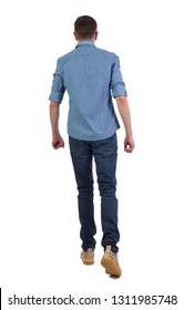 Back view of going  handsome man . walking young guy . Rear view people collection.  backside view of person.  Isolated over white. Stylish guy in a short sleeve shirt walks into the distance.