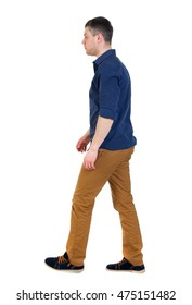 Back view of going handsome man. man in a blue shirt with the sleeves rolled up is right.